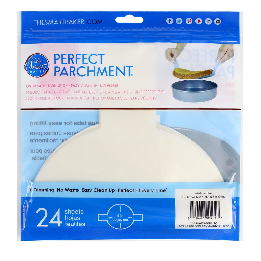 9 inch round parchment with lift tabs - 24 Pack - Package Back