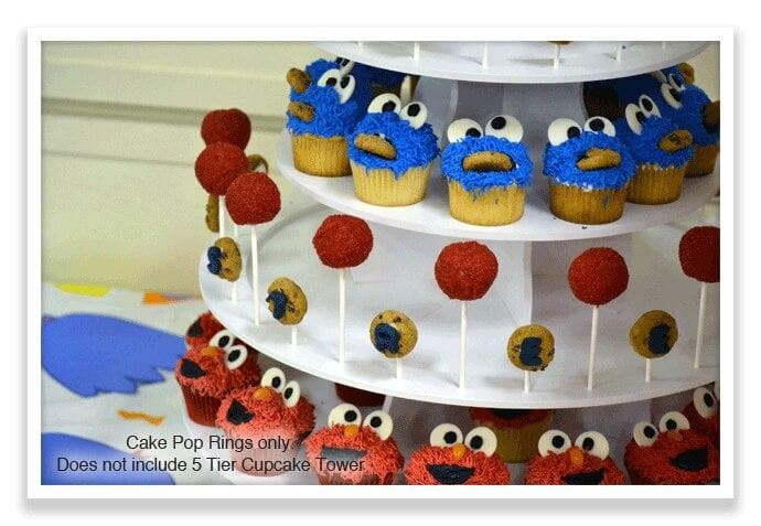 Close up of Sesame Street Theme PRO Cupcake Tower with Cake Pop Rings