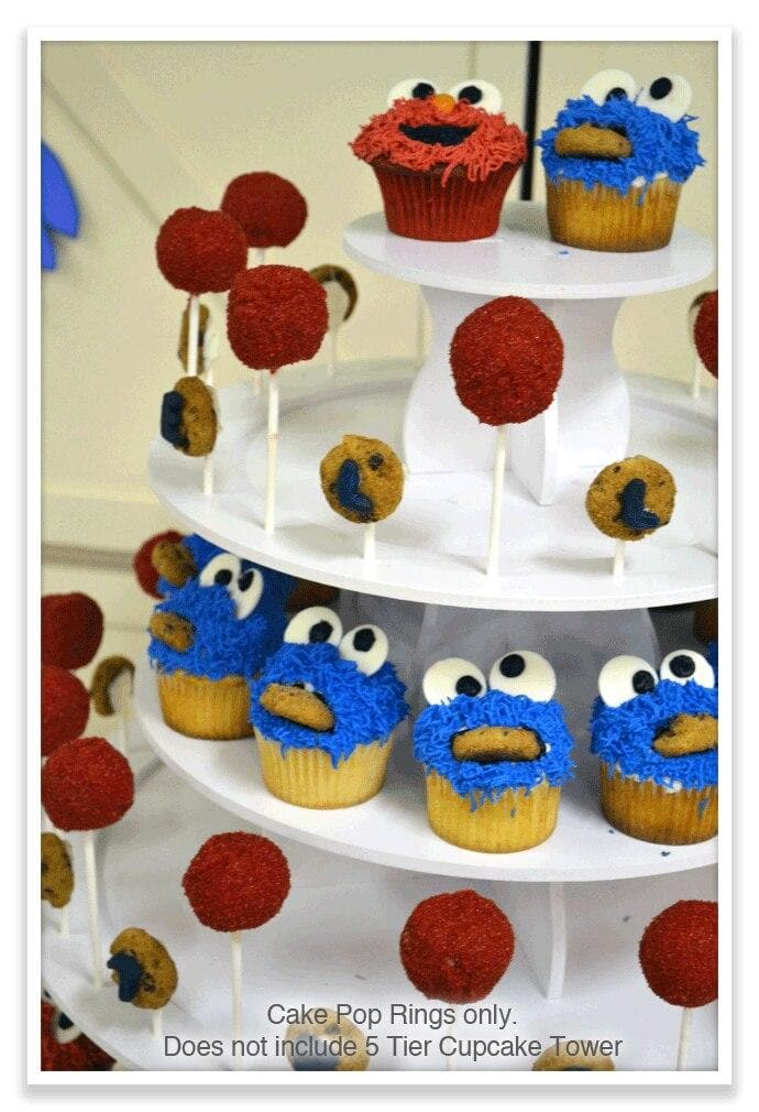 Elmo and Cookie Monster Cupcake Theme Dessert Tower with Cake Pop Ring Add On