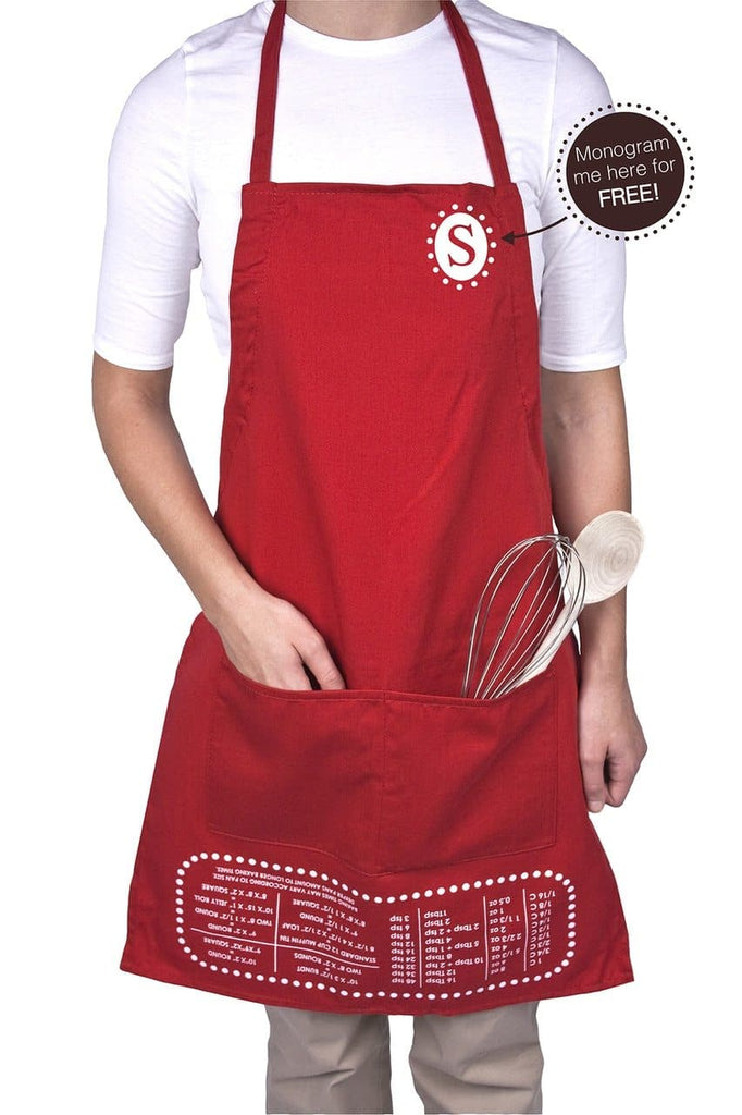 Red Cheat Sheet Apron with Free Monogram Personalization