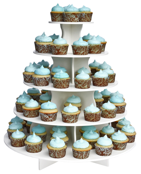 5 Tier Round PRO cupcake tower with cupcakes