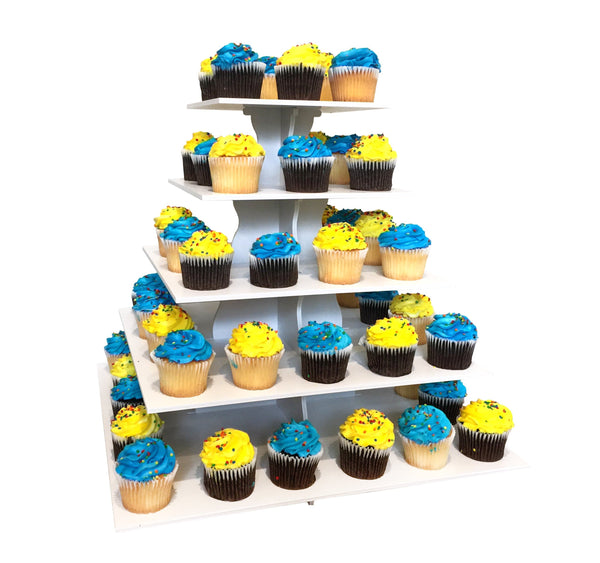 5 Tier 2 in 1 Square Cupcake Tower with Cupcakes