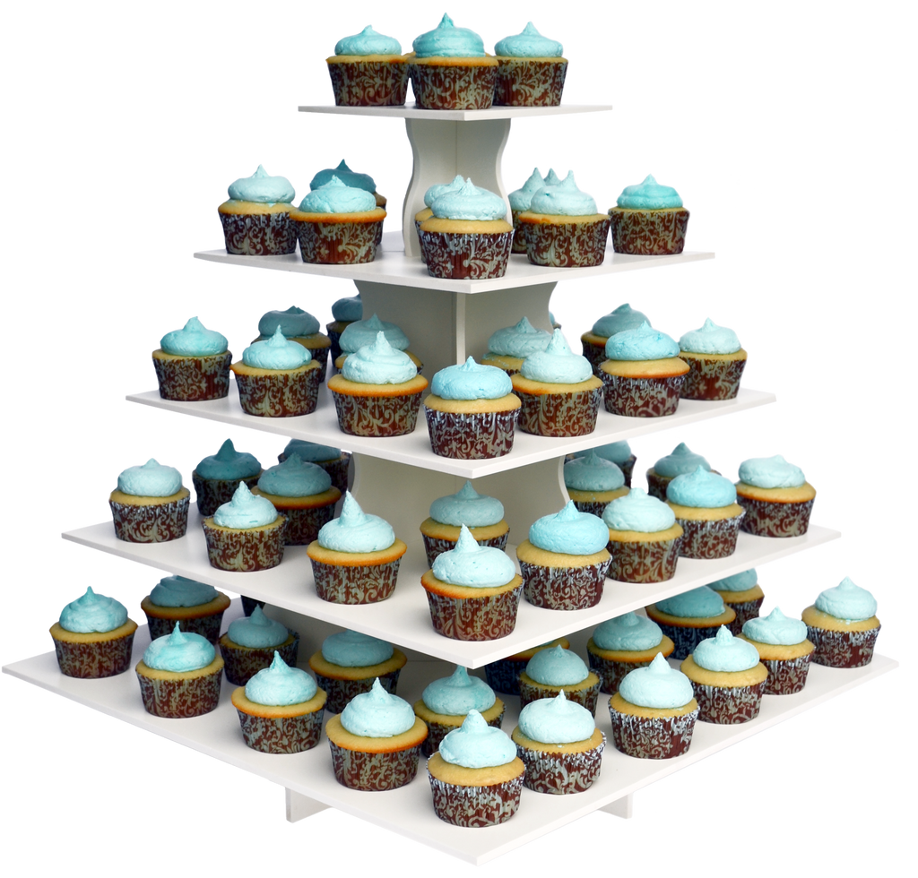5 Tier Square PRO cupcake tower with cupcakes