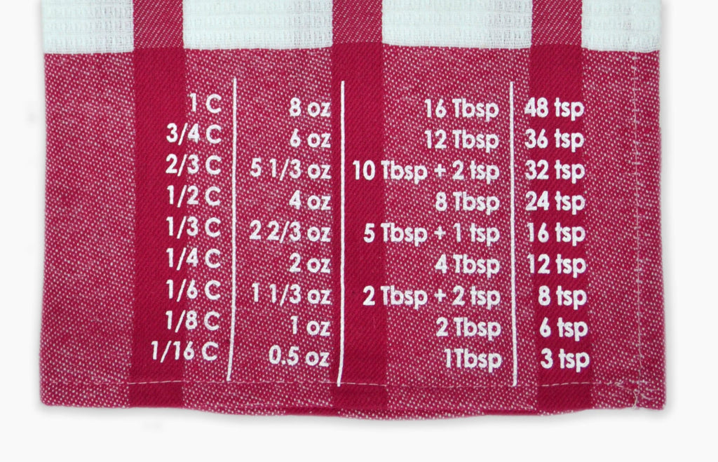 The Smart Baker Conversion Towel Chart up close