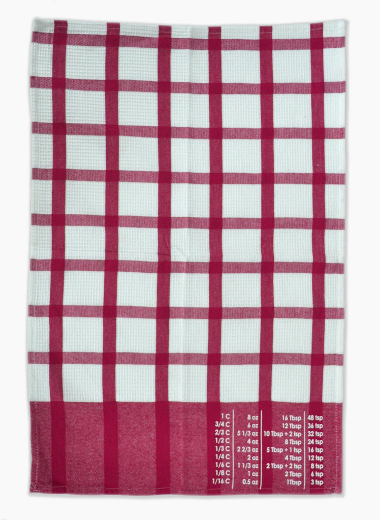 The Smart Baker Conversion Towel in Strawberry and White unfolded