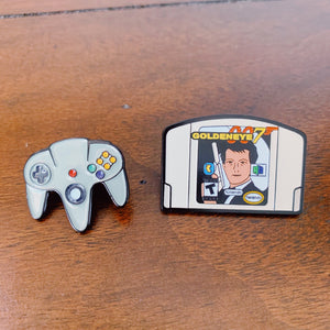 Nintendo 64 Controller and Goldeneye (Pair) Enamel Pins - Only 90's Kids Know