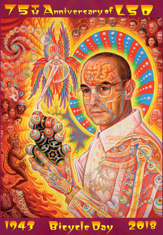"Alex Grey ""St Albert"" Hofmann 75th Anniversary Blotter Art - Shakedown Gallery"