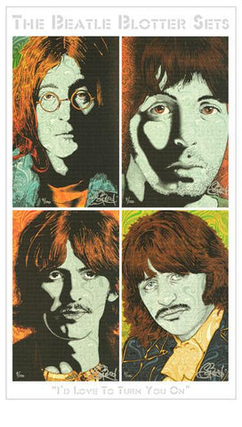 "Chuck Sperry Four Piece ""I'd Love To Turn You On"" Beatle Blotter Art Set - Shakedown Gallery"