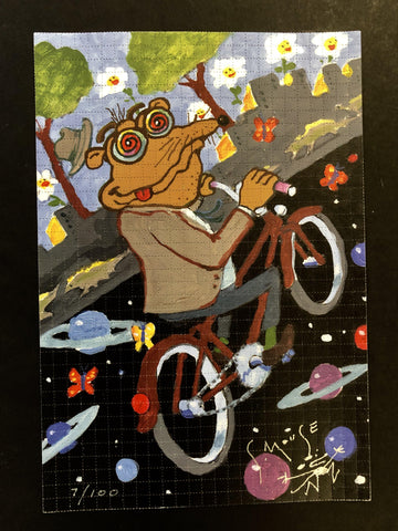 "Stanley Mouse ""Test Run"" Bicycle Day Blotter Art Signed Blotter Art Shakedown Gallery"
