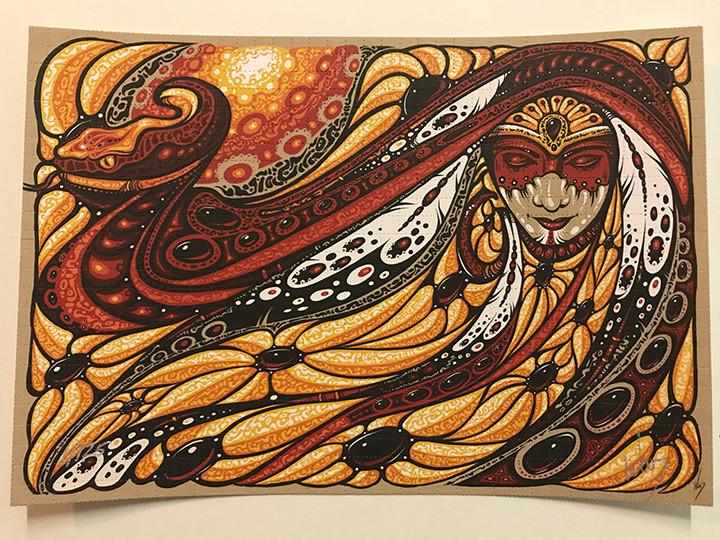 """Serpent Mother"" Blotter Art by Jeff Wood - Shakedown Gallery"