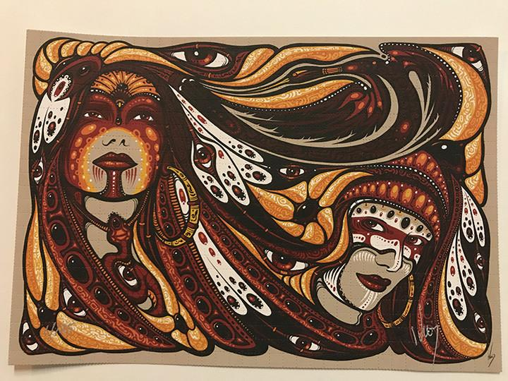 """Two Sisters"" Blotter Art by Jeff Wood - Shakedown Gallery"