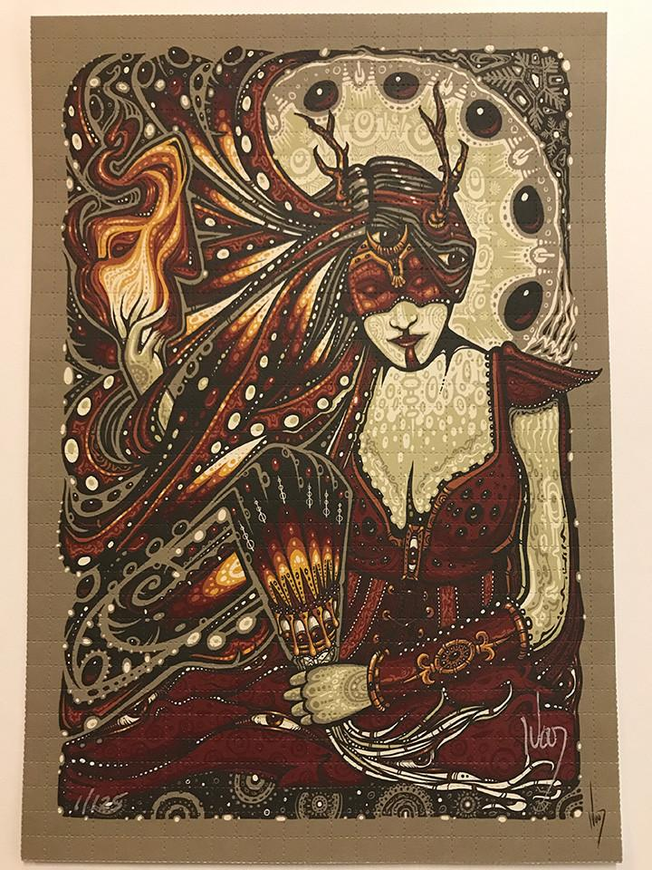 """Yule Fire Woman"" Blotter Art by Jeff Wood - Shakedown Gallery"