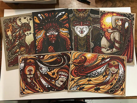 "Jeff Wood ""Shaman"" Blotter Art Set - Shakedown Gallery"