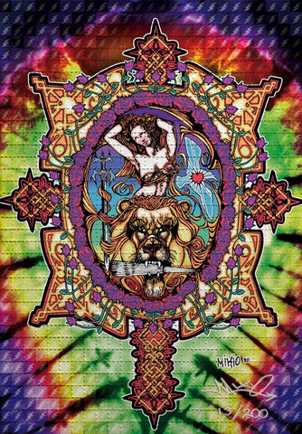Mikio Lady With A Fan Blotter Art - Signed, Numbered