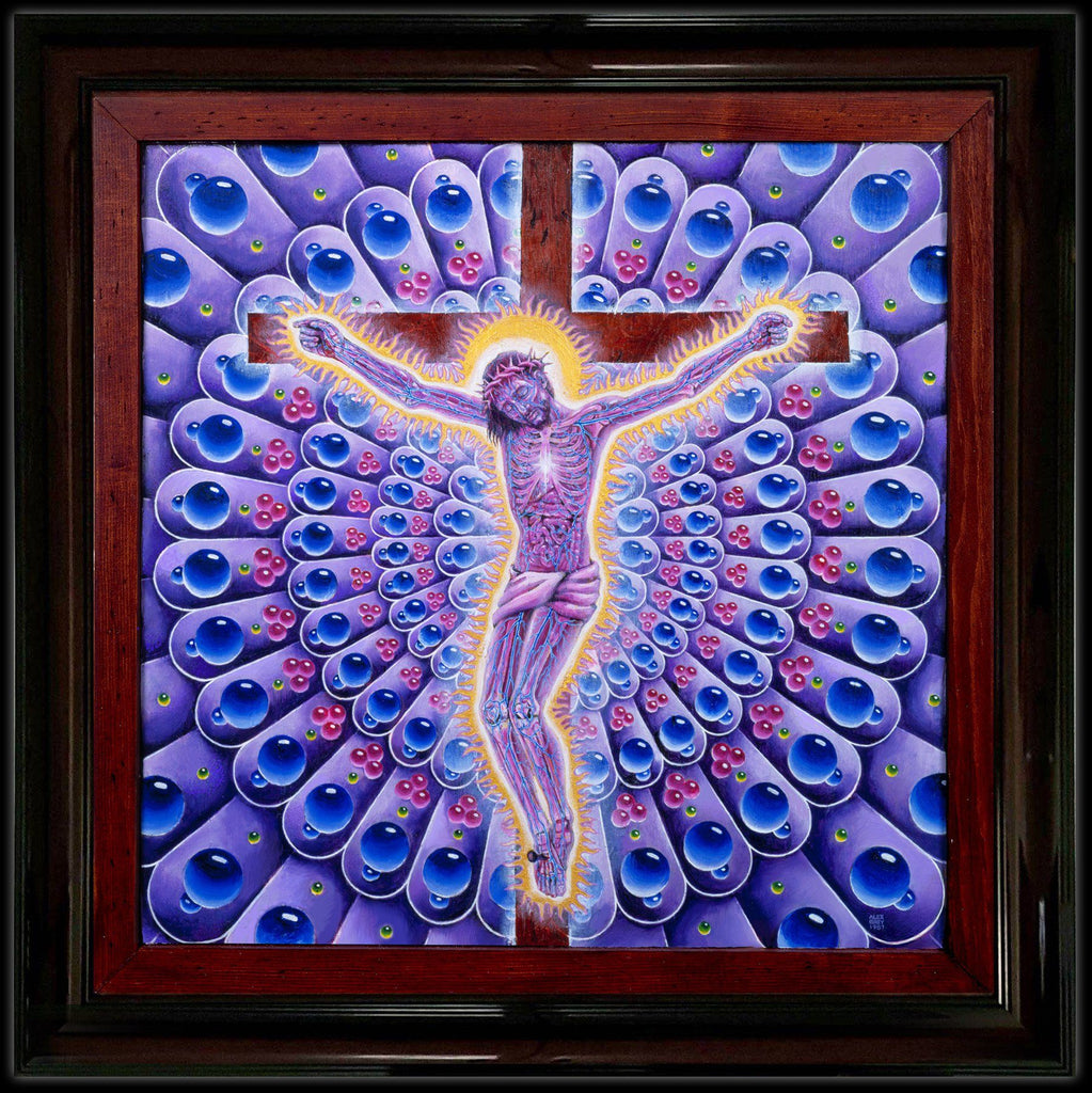 Alex Grey Purple Carbon Jesus Giclée on Canvas - Shakedown Gallery