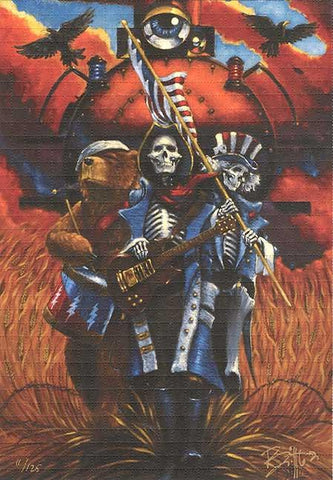"Grateful Dead Blotter Art ""Bound For Glory"" Fare Thee Well Image by Richard Biffle - Shakedown Gallery"