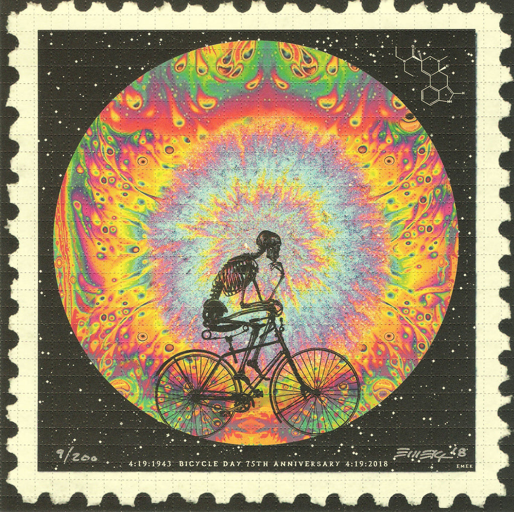 Emek Bicycle Day 75th Anniversary Blotter Art - Shakedown Gallery