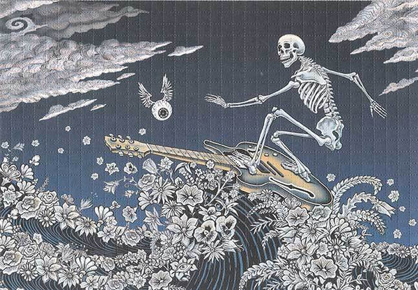 Emek TRPS Guitar Skeleton Surfer Blotter Art