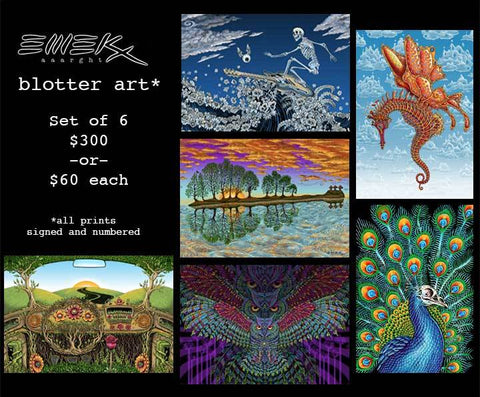 Set of Six EMEK Blotter Art Prints