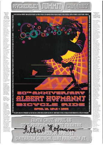 Signed Albert Hofmann 50th Anniversary Bicycle Day Poster - Shakedown Gallery