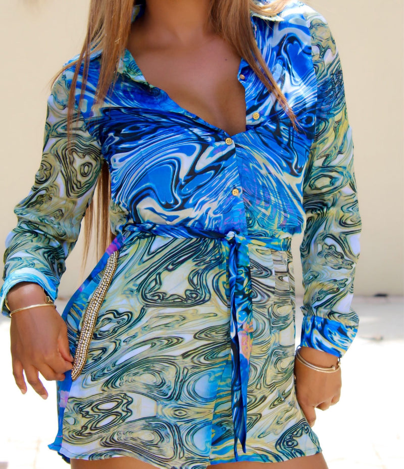 Women Tie Front Print Romper - Best Blue Jumpsuits