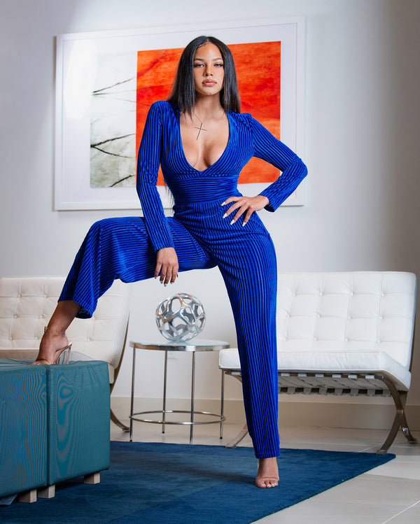 Royal Blue Jumpsuit Women - Stretch Fabric Jumpsuit | LOVOIR X