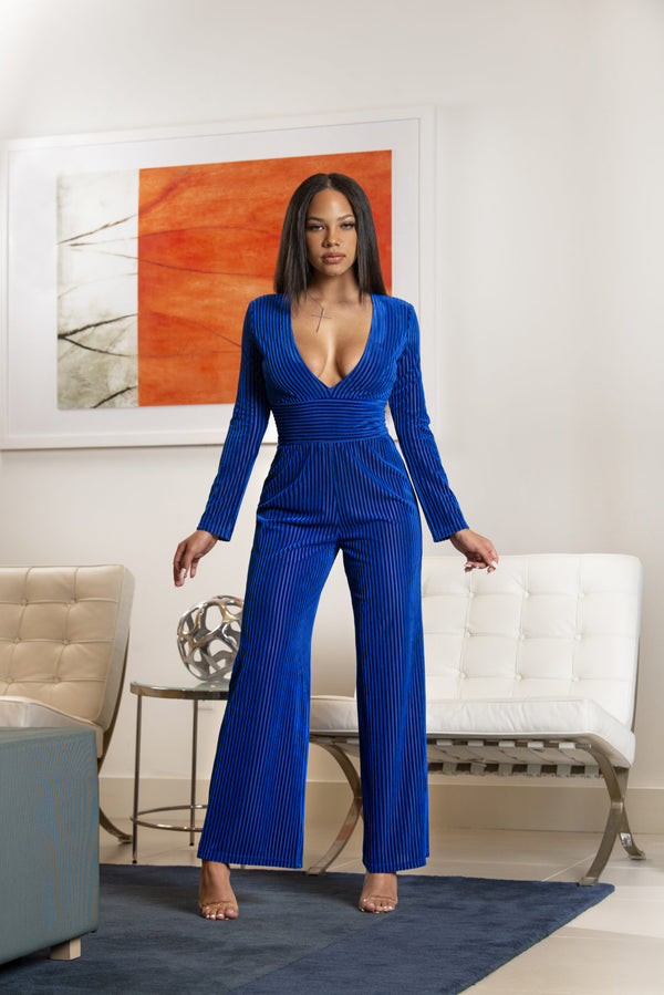 Women's Neck Jumpsuit - Royal Blue Night Best Dress