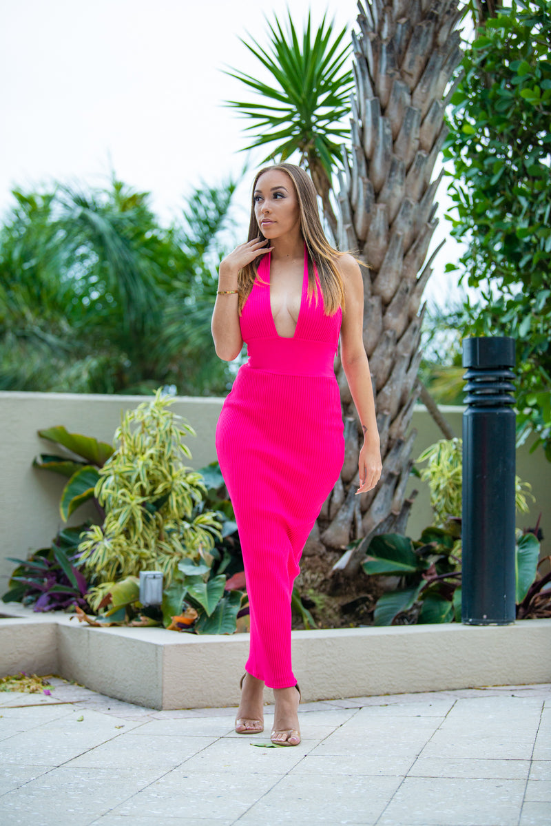 Women's body con ribbed dress - Best pink Suit for ladies