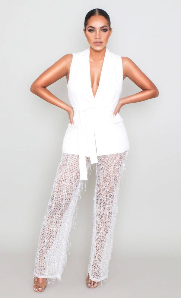Blazer Vest Dress - White Blazer Pants Set | LOVOIR X