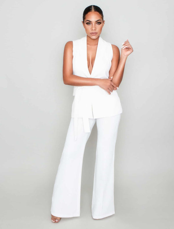 Women's White Blazer Vest Pants Set - Best Suit for ladies