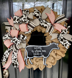"Farmhouse ""Home is where our Herd is"" Cow Burlap Wreath - Simply Blessed"