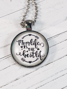"Mom's Life is the Best Life Necklace with 24"" chain - Simply Blessed"