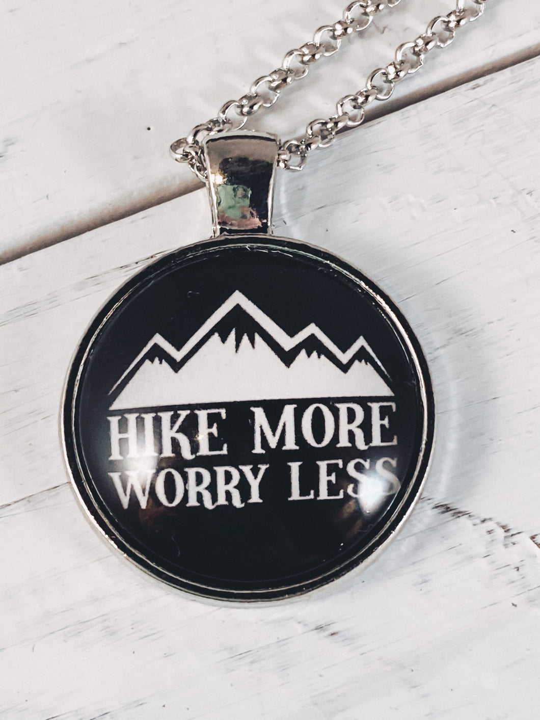 Hike More Worry Less Necklace with 24