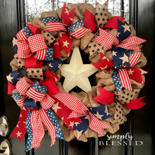 Load image into Gallery viewer, Patriotic Star Burlap Wreath - as seen in COUNTRY SAMPLER magazine - Simply Blessed