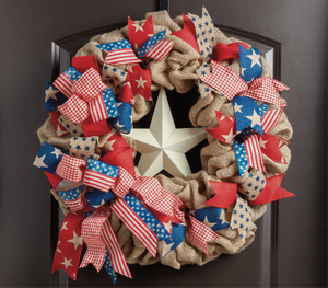 Patriotic Star Burlap Wreath - as seen in COUNTRY SAMPLER magazine - Simply Blessed