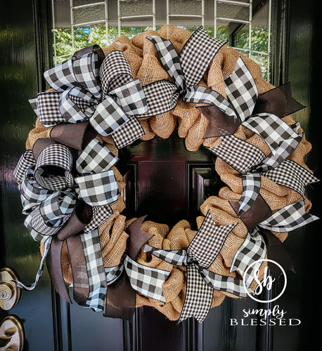 Farmhouse Black and White Buffalo Plaid Burlap Wreath - Simply Blessed