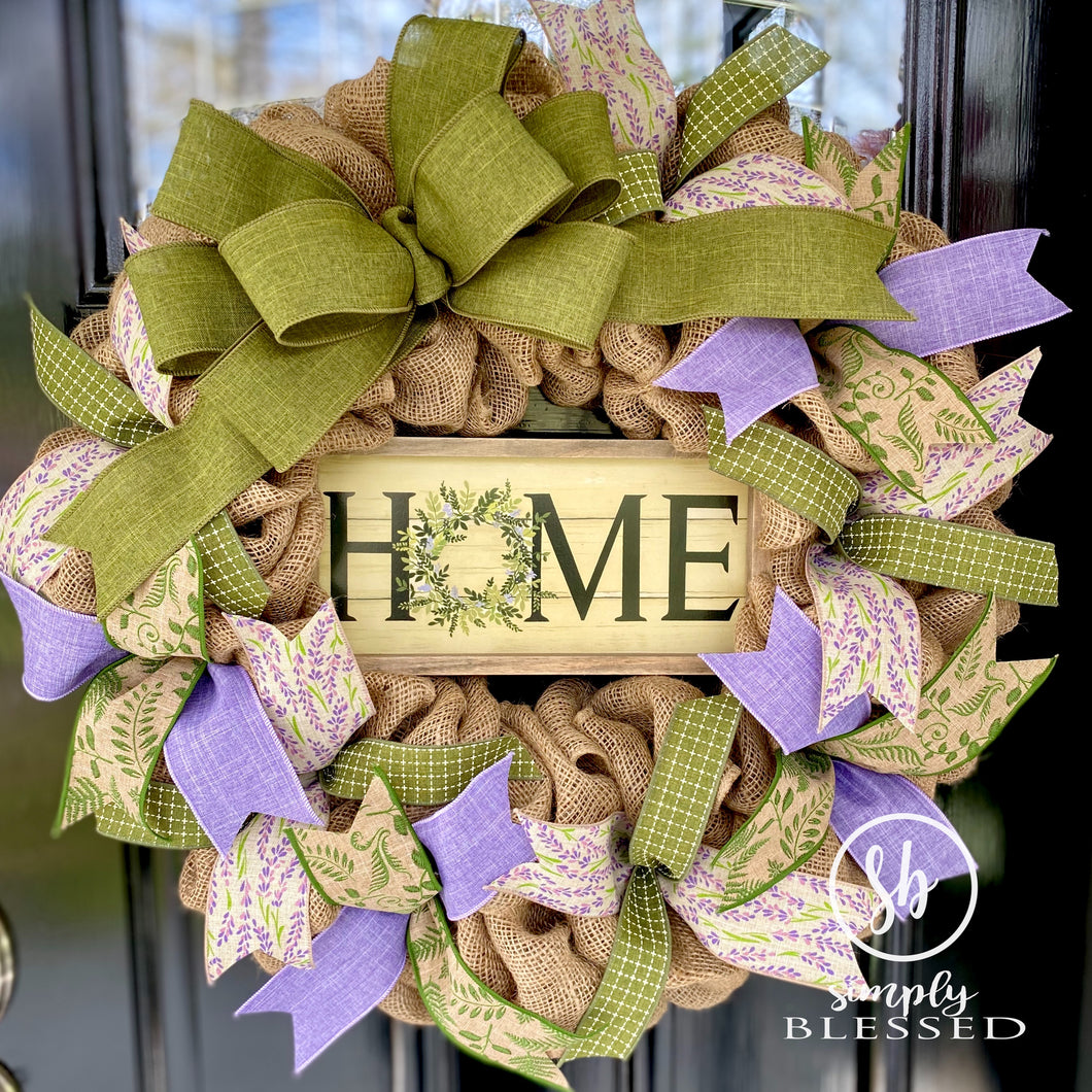 Burlap Home Wreath in Purple and Green - Simply Blessed