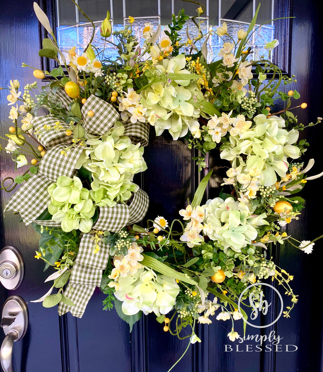 Floral Grapevine Wreath with Green Hydrangeas and Yellow Accents - Simply Blessed