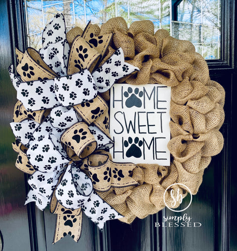 Home Sweet Home Paw Print Burlap Wreath - Simply Blessed