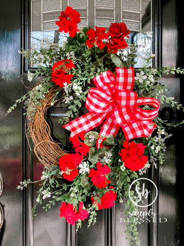 Geranium Grapevine Wreath - Simply Blessed