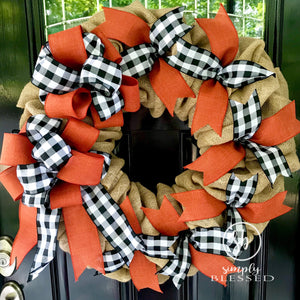 Fall Farmhouse Black and White Buffalo Plaid with Burnt Orange Burlap Wreath - Simply Blessed