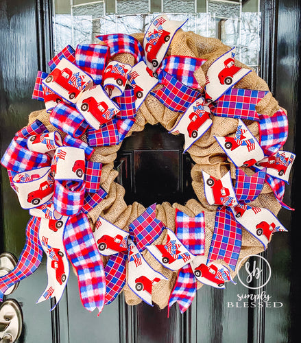 Americana Truck Burlap Wreath - as seen in COUNTRY SAMPLER magazine - Simply Blessed
