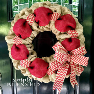 Red and Natural Chevron Burlap Wreath - Simply Blessed