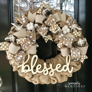 Farmhouse Cotton Blessed Burlap Wreath - as seen in COUNTRY SAMPLER magazine - Simply Blessed