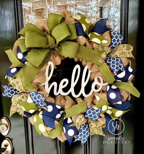 Navy and Green Hello Burlap Wreath - as seen in Country Sampler Magazine - Simply Blessed