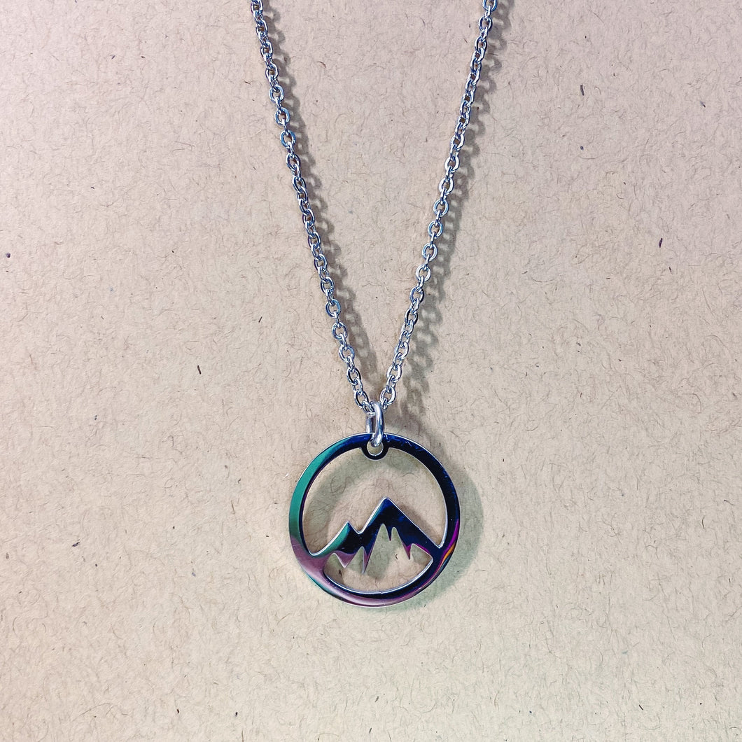 Stainless Steel Mountain Silhouette Pendant and Chain - Simply Blessed