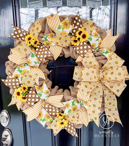 Sunflower Burlap Wreath - as seen in COUNTRY SAMPLER magazine - Simply Blessed