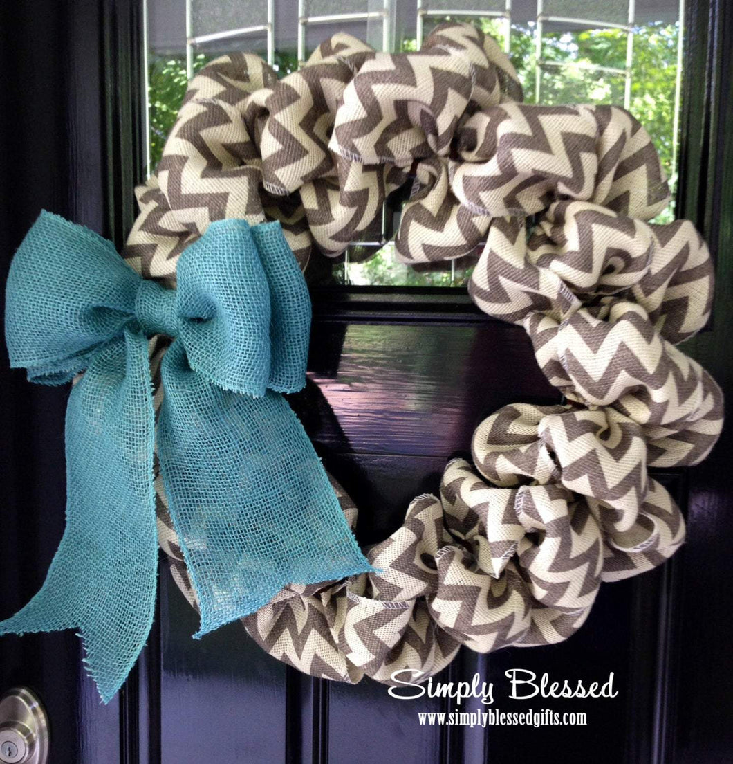 Chevron Burlap Wreath - Teal, White, Gray, and Natural - Simply Blessed