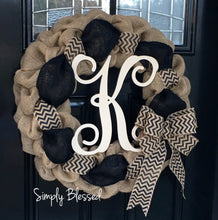 Load image into Gallery viewer, Black and Natural Chevron Burlap Wreath - As Seen in COUNTRY SAMPLER Magazine - Simply Blessed