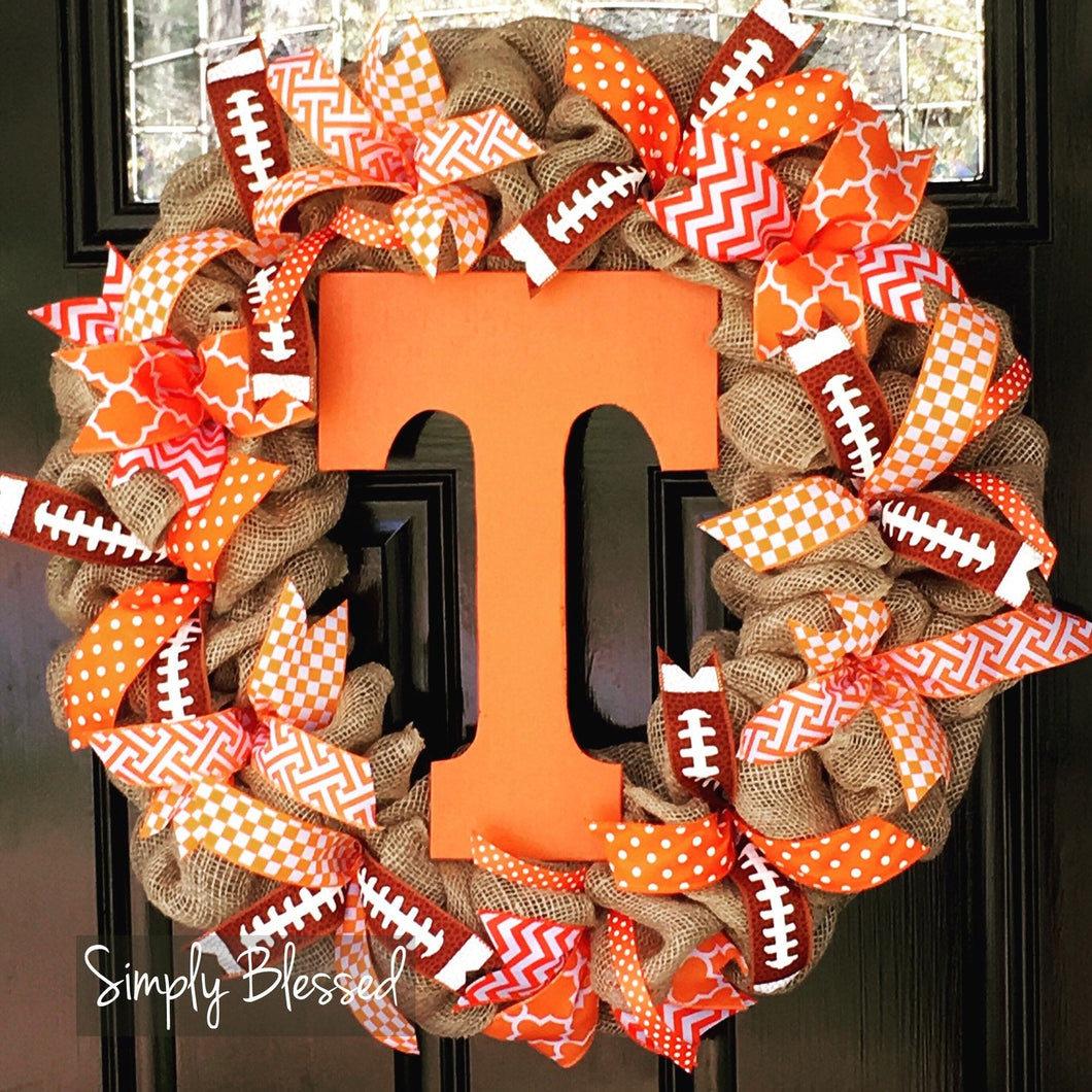 University of Tennessee Vols inspired Burlap Wreath - Simply Blessed